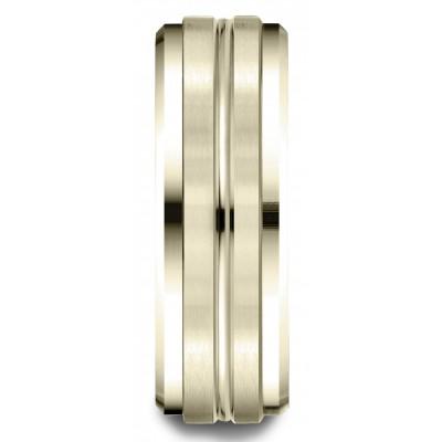 18k Yellow Gold 8mm Comfort-fit Drop Bevel Satin Center Cut Design Band