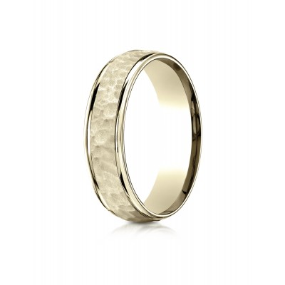 14k Yellow Gold Comfort Fit 6mm High Polish Edge Hammered Center Design Band