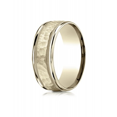 18 Karat Yellow Gold 8mm Comfort-fit Hammered Center High Polish Round Edge Carved Design Band