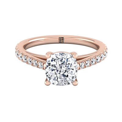 Classic 4 Prong Cushion Cut Diamond Engagement Ring In 14k Rose Gold (1/4 Ct.tw.)