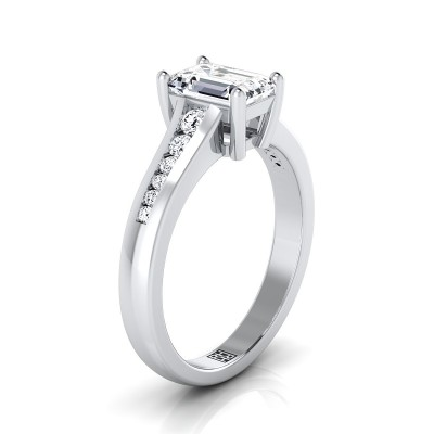 Emerald Cut Channel Diamond Engagement Ring In 14k White Gold (1/6 Ct.tw.)