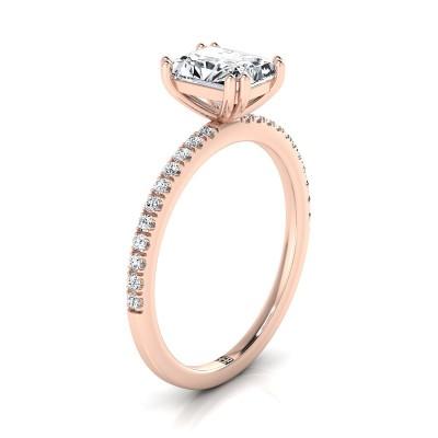 Classic Petite Split Prong Radiant Cut Diamond Engagement Ring In 14k Rose Gold (1/6 Ct.tw.)