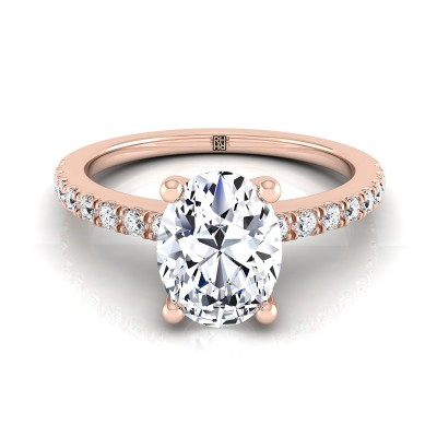 Classic Petite Split Prong Oval Diamond Engagement Ring In 14k Rose Gold (1/5 Ct.tw.)