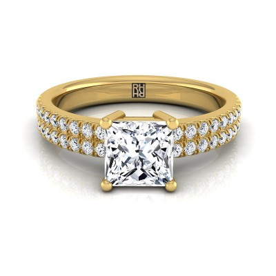 Princess Cut Diamond Double Row Engagement Ring With Micro U Set Pave In 14k Yellow Gold (1/4 Ct.tw.)