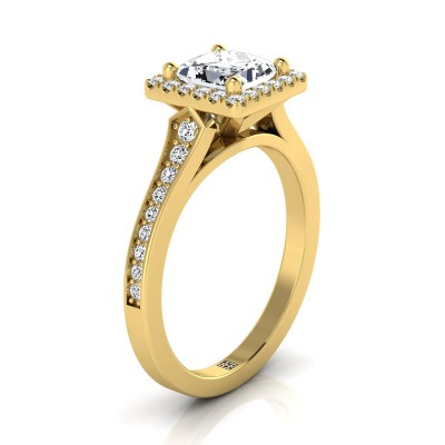 Princess Cut Diamond Engagement Ring With Halo Frame And Pave Shank In 14k Yellow Gold (1/3 Ct.tw.)