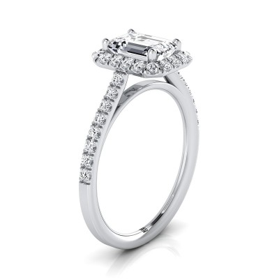 Emerald Cut Diamond Halo Engagement Ring With Petite Pave Shank In 14k White Gold (3/8 Ct.tw.)