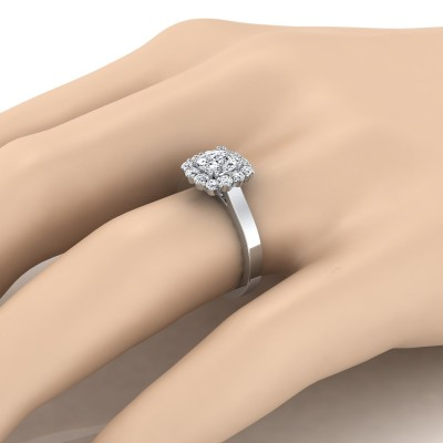 Cushion Cut Diamond Halo Engagement Ring In 14k White Gold (3/8 Ct.tw.)