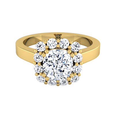 Cushion Cut Diamond Halo Engagement Ring In 14k Yellow Gold (3/8 Ct.tw.)