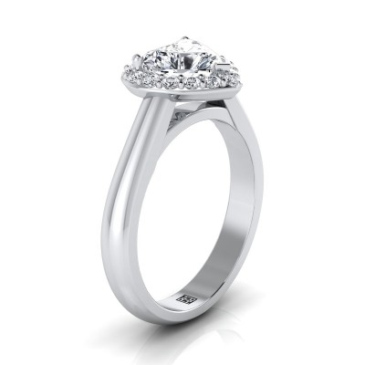 Heart Shape Diamond Halo Engagement Ring In 14k White Gold (1/5 Ct.tw.)
