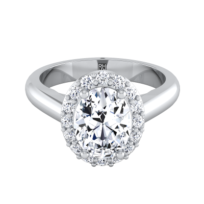 Oval Diamond Halo Engagement Ring In 14k White Gold (1/5 Ct.tw.)