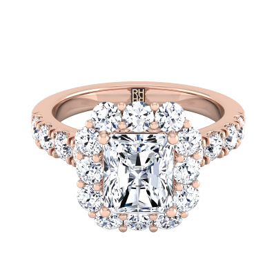 Radiant Diamond Halo Engagement Ring With Pave Shank In 14k Rose Gold (1 1/10 Ct.tw.)