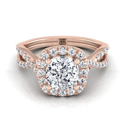 Cushion Cut Diamond Halo Engagement Ring With Infinity  Shank In 14k Rose Gold (1/2 Ct.tw.)