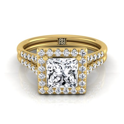 Princess Cut Diamond Halo Engagement Ring With Double Row Shank In 14k Yellow Gold (3/8 Ct.tw.)