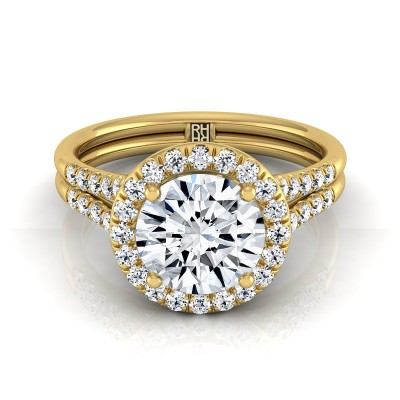Diamond Halo Engagement Ring With Double Row Shank In 14k Yellow Gold (3/8 Ct.tw.)