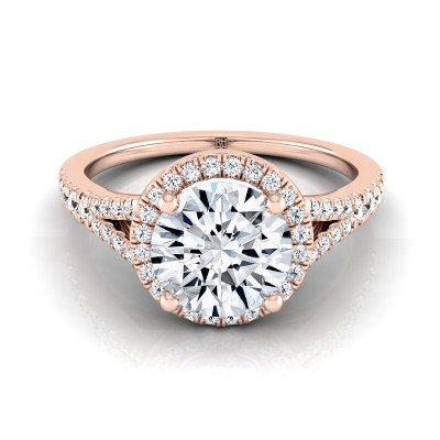 Diamond Halo Engagement Ring With Scroll Gallery In 14k Rose Gold (1/4 Ct.tw)