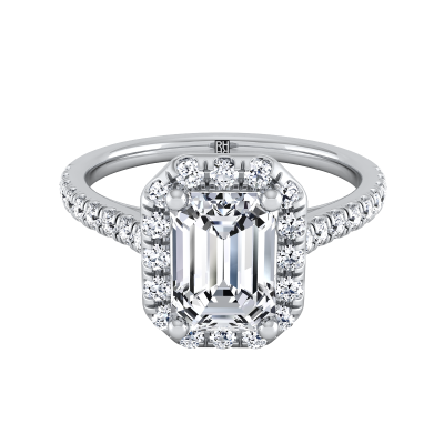Emerald Cut Diamond Halo Engagement Ring With Pave Shank In 14k White Gold (3/8 Ct.tw.)