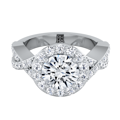 Diamond Halo Engagement Ring With Infinity  Shank In 14k White Gold (3/4 Ct.tw.)