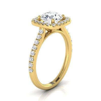 Diamond Square Halo Engagement Ring With Pave Shank In 14k Yellow Gold (1/2 Ct.tw.)