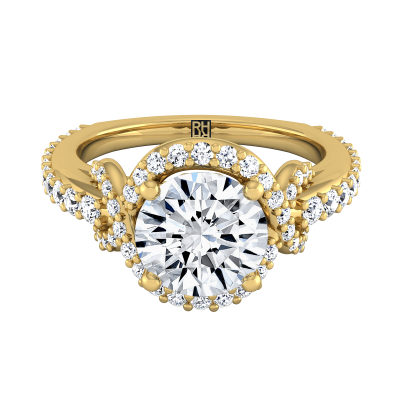 Diamond Engagement Ring With Love Knot Shank In 14k Yellow Gold ( 5/8 Ct.tw.)