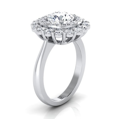 Diamond Double Halo Engagement Ring In 14k White Gold (1 Ct.tw.)