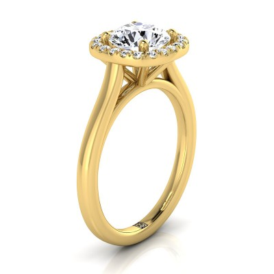 Diamond Halo Engagement Ring In 14k Yellow Gold (1/6 Ct.tw.)
