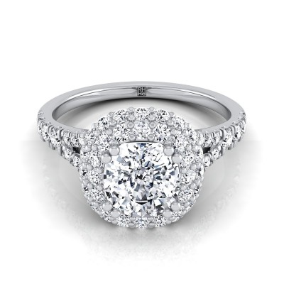 Cushion Cut Diamond Double Halo  Engagement Ring With Diamond Pave Shank In 14k White Gold (5/8 Ct.tw.)
