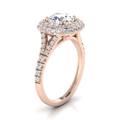 Diamond Double Halo  Engagement Ring With Diamond Pave Shank In 14k Rose Gold (5/8 Ct.tw.)