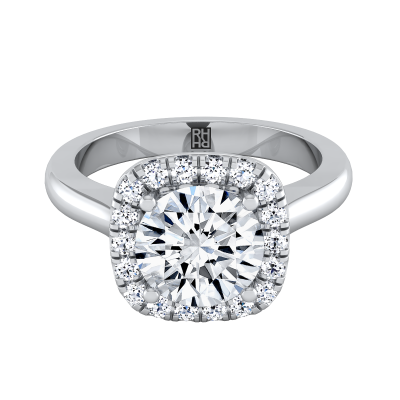 Diamond Halo Engagement Ring In 14k White Gold (1/5 Ct.tw.)