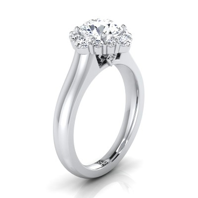 Diamond Halo Engagement Ring In 14k White Gold (1/2 Ct.tw.)