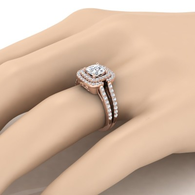 Cushion Cut Diamond Double Halo Engagement Ring With Pave Split Shank In 14k Rose Gold (2/3 Ct.tw.)