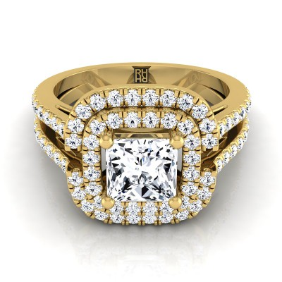 Princess Cut Diamond Double Halo Engagement Ring With Pave Split Shank In 14k Yellow Gold (2/3 Ct.tw.)