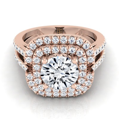 Diamond Double Square Halo Engagement Ring With Pave Split Shank In 14k Rose Gold (2/3 Ct.tw.)