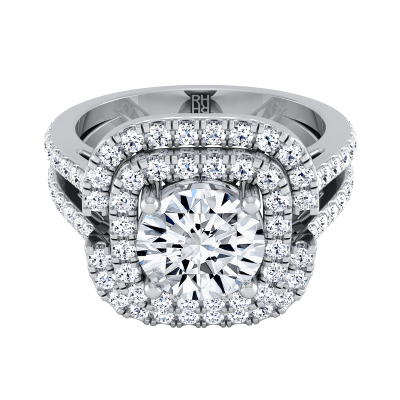 Diamond Double Square Halo Engagement Ring With Pave Split Shank In 14k White Gold (2/3 Ct.tw.)