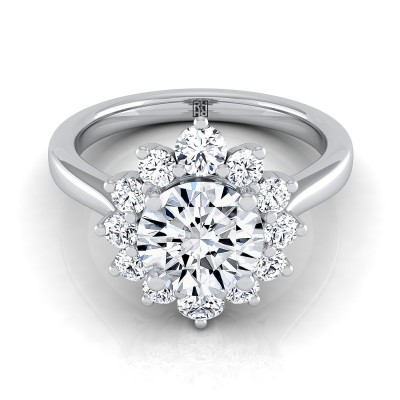 Diamond Halo Floral Design Ring In 14k White Gold (1/2 Ct.tw.)