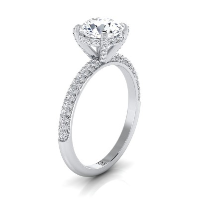 Classic 4-prong Diamond Engagement Ring With Pave Shank In 14k White Gold (3/8 Ct.tw.)