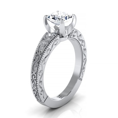 Princess Cut Antique Inspired Engraved Diamond Engagement Ring With Millgrain Finish In 18kwhite Gold