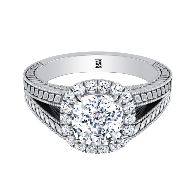 Antique Inspired Engraved Cushion Cut Diamond Engagement Ring With Millgrain Finish And Split Shank In 14k White Gold