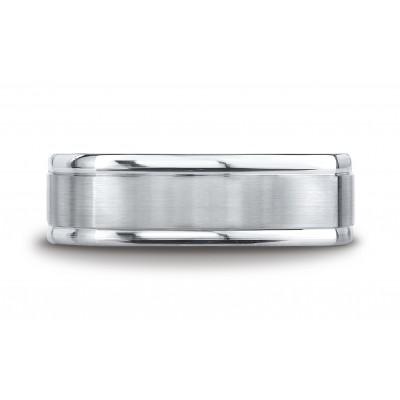 14k White Gold 7mm Comfort-fit Satin-finished Four-sided Carved Design Band