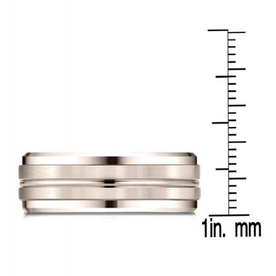 14k Rose Gold 8mm Comfort-fit Drop Bevel Satin Center Cut Design Band