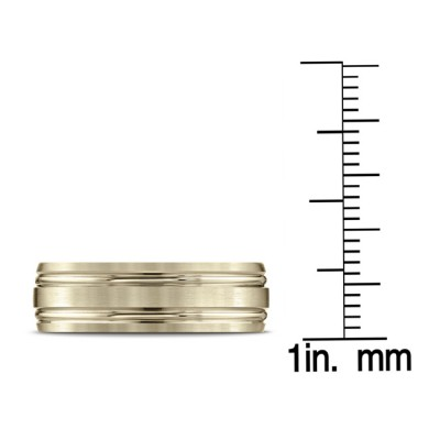 14k Yellow Gold 7mm Comfort-fit Satin-finished With Parallel Grooves Carved Design Band