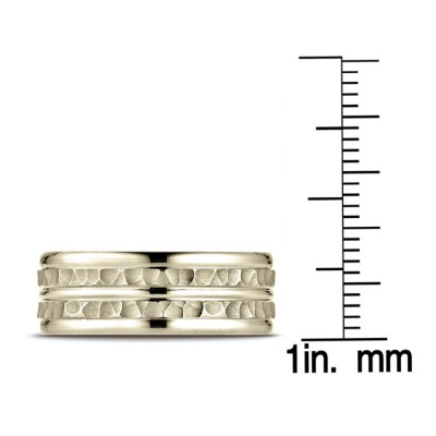 14k Yellow Gold 8mm Comfort-fit Hammer-finished High Polished Center Trim And Round Edge Carved Design Band