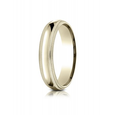 14k Yellow Gold 5mm Slightly Domed Standard Comfort-fit Ring With Double Milgrain