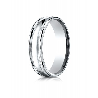 14k White Gold 6mm Comfort-fit High Polished With Milgrain Round Edge Carved Design Band