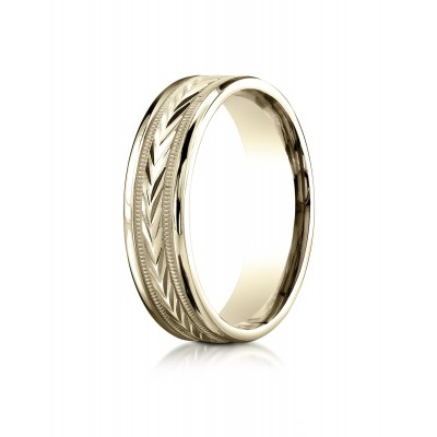 14k Yellow Gold 6mm Comfort-fit Harvest Of Love Round Edge Carved Design Band