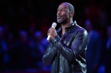 Singer and songwriter Brian McKnight performs the National Anthem before the game between the Los Angeles Clippers and the Memphis Grizzlies at Staples Center.