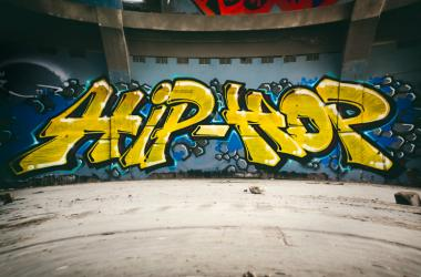 Graffiti wall with Hip Hop, urban art