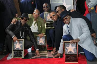 Ricky Bell, Michael Bivins, Bobby Brown, Ronnie DeVoe, Johnny Gill, Ralph Tresvant, of New Edition at the New Edition Walk of Fame Star Ceremony at Hollywood Walk of Fame.