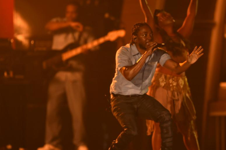Kendrick Lamar performs during the 58th Grammy Awards at the Staples Center.