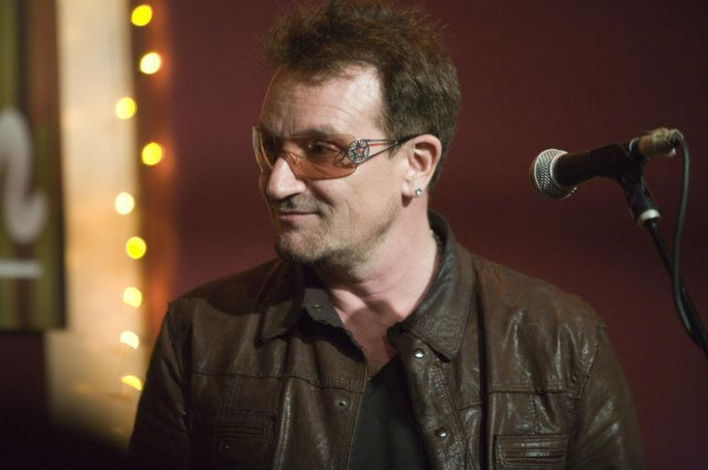 """Bono came down to the The Living Room in New York to sing a song with his fellow songwriter Glen Hansard, last Tuesday May 8th. They both sang """"The Auld Triangle""""—a modern Irish anthem written in the early '60s by Dominic Behan."""