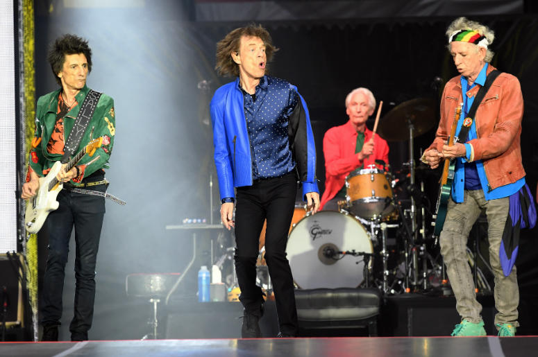 Ronnie Wood, Mick Jagger, Charlie Watts and Keith Richards of The Rolling Stones perform on stage at the Principality Stadium in Cardiff on June 15, 2018